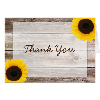 Sunflower Rustic Barn Wood Thank You Card