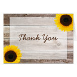 Sunflower Rustic Barn Wood Thank You Note Card