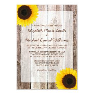 Sunflower Rustic Barn Wood Wedding 13 Cm X 18 Cm Invitation Card