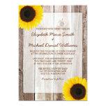 Sunflower Rustic Barn Wood Wedding Invitations