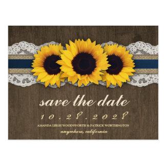 Sunflower Rustic Blue Burlap Save The Date Cards
