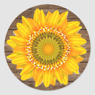 Sunflower Rustic Envelope Seal Sticker