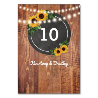 Sunflower Rustic String Lights Table Numbers