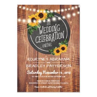 Sunflower Rustic String Lights Wedding 13 Cm X 18 Cm Invitation Card