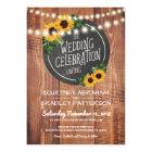 Sunflower Rustic String Lights Wedding Card