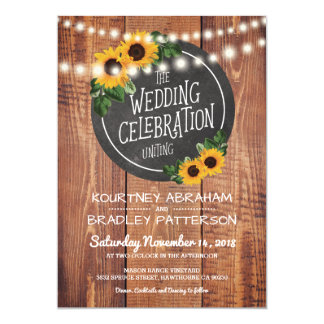 Sunflower Rustic String Lights Wedding Card