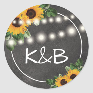 Sunflower Rustic String Lights Wedding Classic Round Sticker