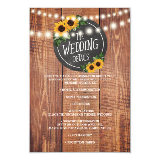 Sunflower Rustic String Lights Wedding Details Card