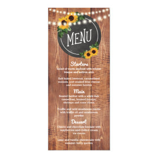 Sunflower Rustic String Lights Wedding Menu Card