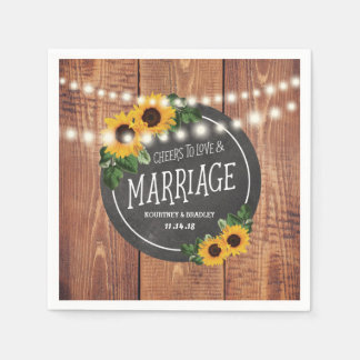Sunflower Rustic String Lights Wedding Paper Napkins