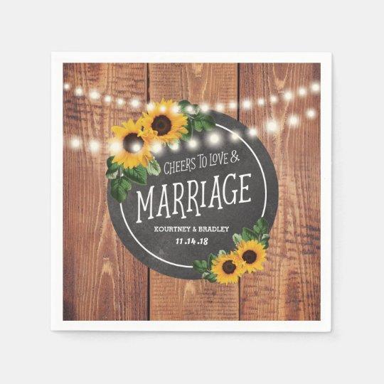 Sunflower Rustic String Lights Wedding Paper Napkins