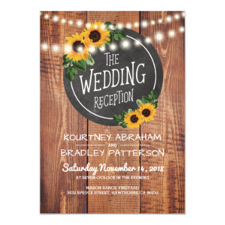 Sunflower Rustic String Lights Wedding Reception Card
