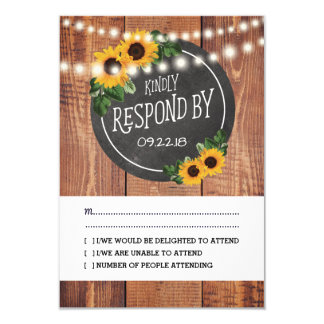 Sunflower Rustic String Lights Wedding RSVP Card