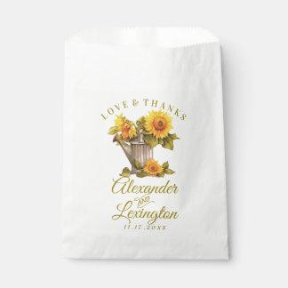 Sunflower Rustic Themed Wedding Favor Bag |