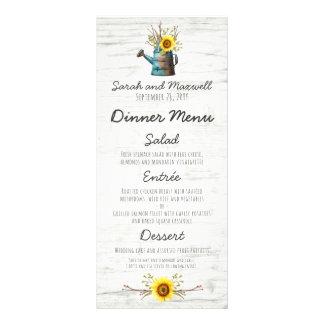 Sunflower & Rustic Wood Farm Wedding Dinner Menu