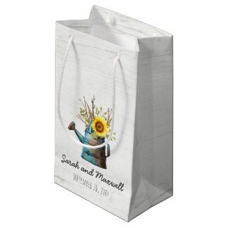 Sunflower & Rustic Wood Farm Wedding Favor Bag
