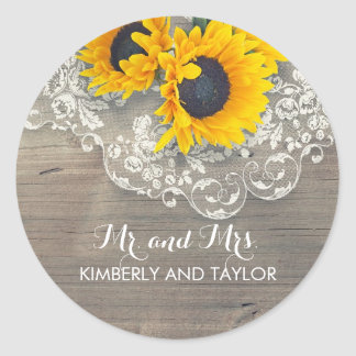 Sunflower Rustic Wood Lace Wedding Monogram Round Sticker