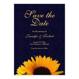 Sunflower Save the Date Announcement (Navy Blue)