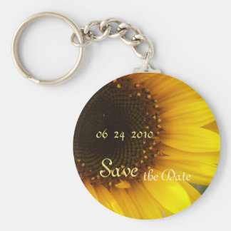 Sunflower Save the Date Basic Round Button Key Ring