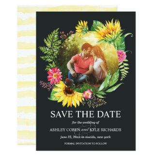 Sunflower Save the Date Card with dark background