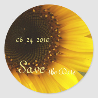 Sunflower Save the Date Round Sticker