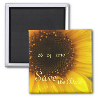 Sunflower Save the Date Square Magnet