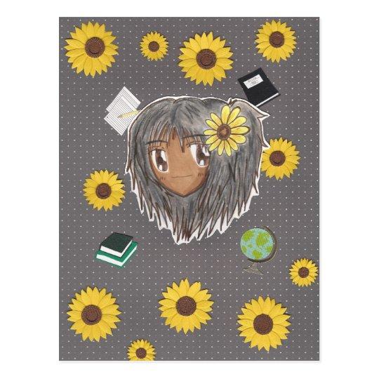 Sunflower Scholar Hinata (chibi w/ collage backgro Postcard