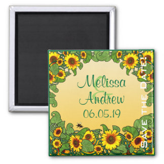 Sunflower Scroll 2 Inch Square Magnet