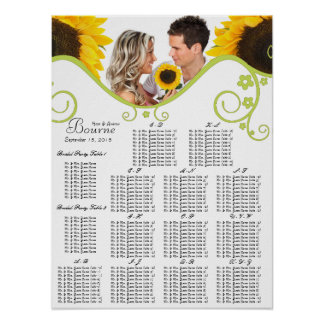 Sunflower Seating Chart Table Number Alphabetical Print