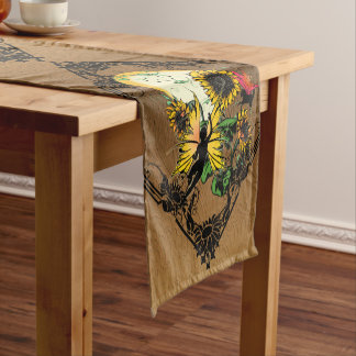 Sunflower Shadow Fairy and Cosmic Cat Short Table Runner
