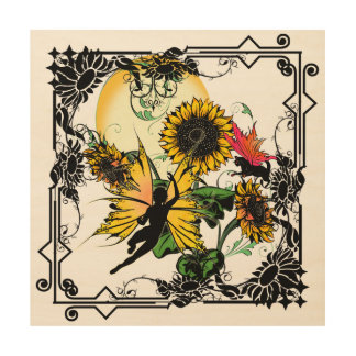 Sunflower Shadow Fairy and Cosmic Cat Wood Wall Art