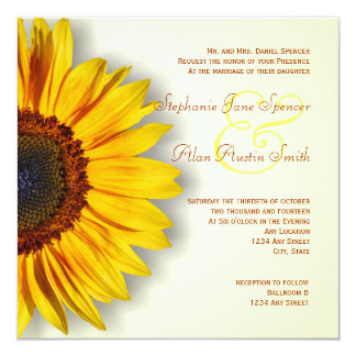 Sunflower Silhouette Wedding Invitation