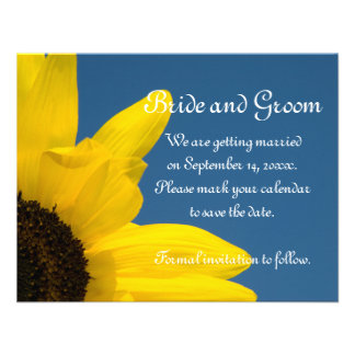 Sunflower Sky Wedding Save the Date Announcement
