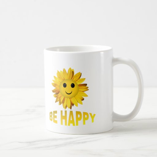 """Sunflower Smiley Face """"Be Happy"""" Mugs/Cups"""