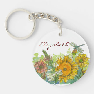 Sunflower Snapdragon Dragonfly Watercolor Flowers Single-Sided Round Acrylic Key Ring