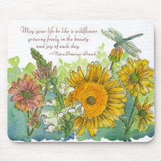Sunflower Snapdragon Flowers Inspiration Poem Mouse Pad