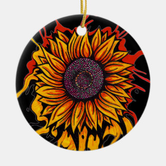 Sunflower Splattered Christmas Ornament