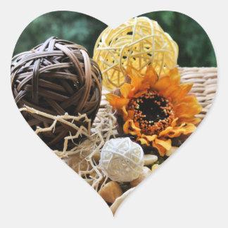 Sunflower, Stones and Woven Balls Heart Sticker