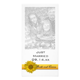 Sunflower Stripe Just Married Card