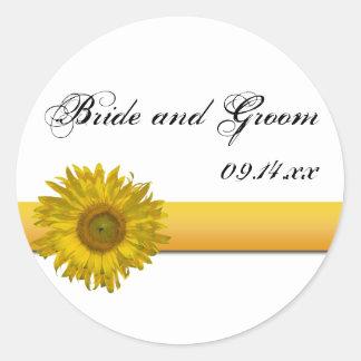 Sunflower Stripe Wedding Envelope Seals Round Sticker