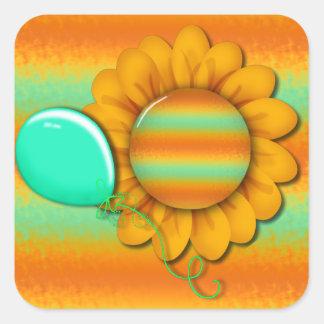 Sunflower Sundays Cute Mixed Media Square Stickers