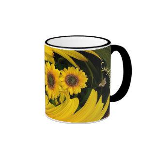 Sunflower  swirl ~ Ringer  Coffee Mug