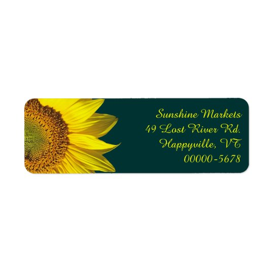 Sunflower Teal Return Address Labels Skinny