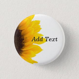 Sunflower template, bold text print 3 cm round badge