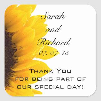 Sunflower Thank You Message Wedding Favour Square Sticker