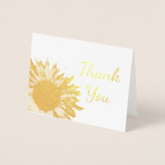 Sunflower Thank You Note Foil Card