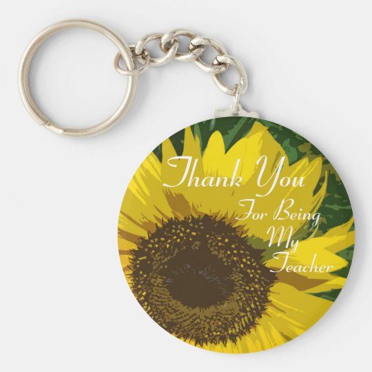 Sunflower Thank You Teacher Basic Round Button Key Ring
