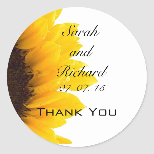 Sunflower Thank You Wedding Favour Stickers