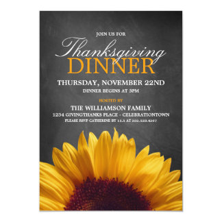 Sunflower Thanksgiving Dinner Party Invitations