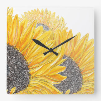 Sunflower Time Square Wall Clock